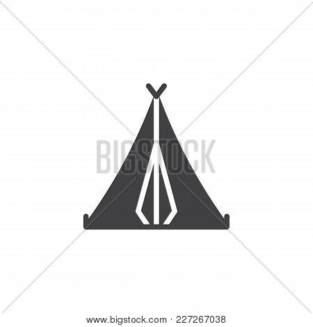 Camping Tent Vector Icon. Filled Flat Sign For Mobile Concept And Web Design. Sport And Tourism Simp