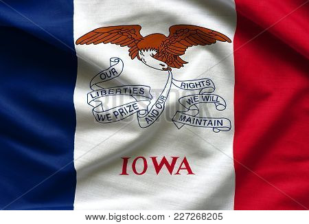 Fabric Texture Of The Iowa Flag Background - Flags From The Usa