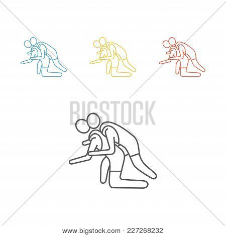 Athlete Wrestling Line Icon. Vector Signs For Web Graphics