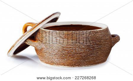 Clay Saucepan With Open Cover Isolated On White Background. Clipping Path. Ceramic Kitchenware. Eart