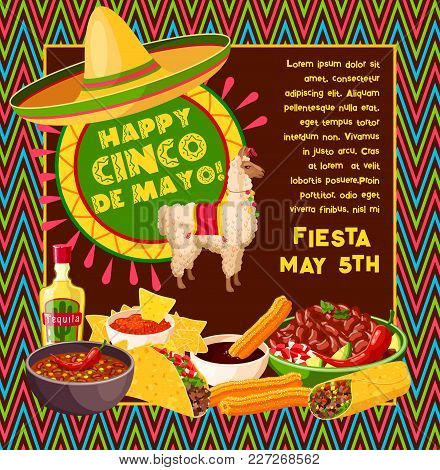 Cinco De Mayo Mexican Party Celebration Greeting Card Of Traditional Food Jalapeno Pepper, Tequila A