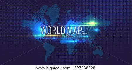 Halftone Background And Banner With World Map On Blue Background. Vector Illustration