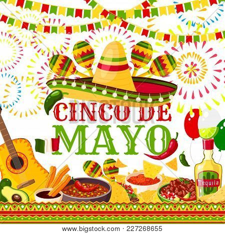 Cinco De Mayo Greeting Card For Mexican Holiday Or Fiesta Party Celebration Of Jalapeno Pepper, Somb