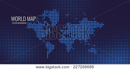 Halftone Background With Dotted World Map. Vector Illustration
