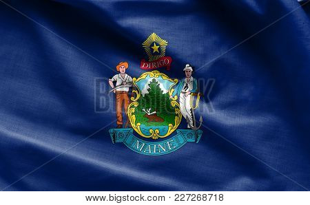 Fabric Texture Of The Maine Flag Background - Flags From The Usa