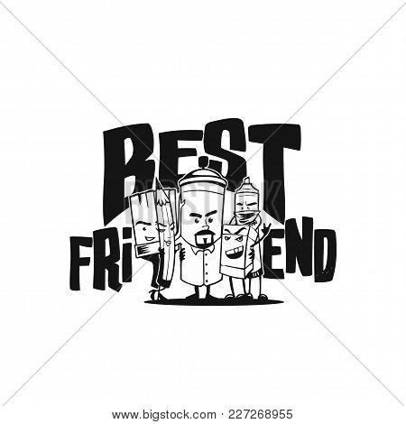 Best Friends On White Background With Typography Vector Illustration Design.