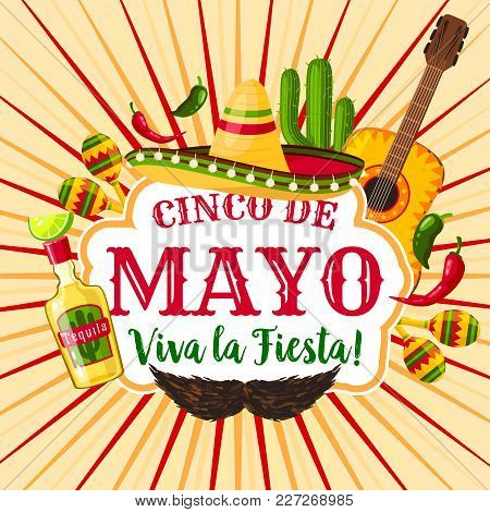 Cinco De Mayo Mexican Holiday Greeting Poster. Fiesta Party Sombrero, Maracas, Chili And Jalapeno Pe