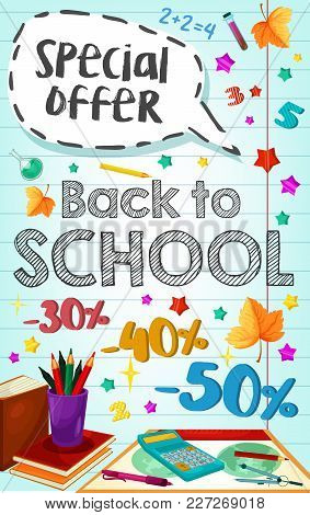 Back To School Sale Or Special Promo Poster Of Study Supplies And Stationery On Checkered Sketch Bac