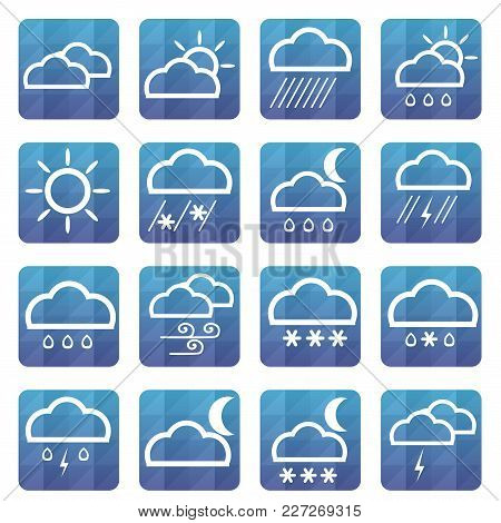 Weather Flat Icons Set. Vector Illustration. Meteorology Symbol.