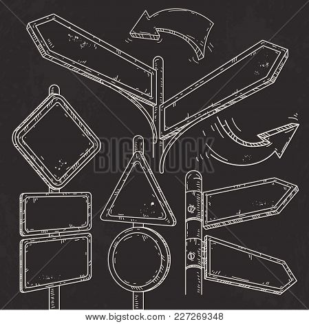 Vector Icons Sketch Set Set Of Empty Pointers, Arrows And Road Signs. Empty Signs And Signs Drawn On