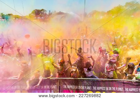 Johanneburg, South Africa,  09/25/2016, Young People Having Fun At The Color Run 5km Marathon, Brigh