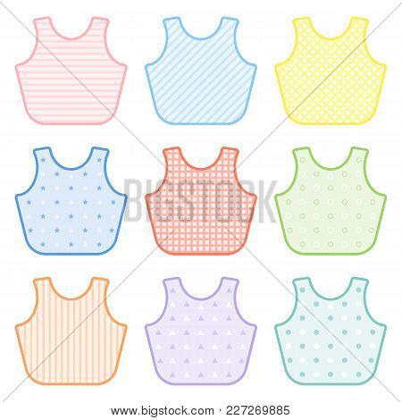 Set With Decorated Baby Bibs In Pastel Colors. Vector Illustration Isolated On White Background. Bab