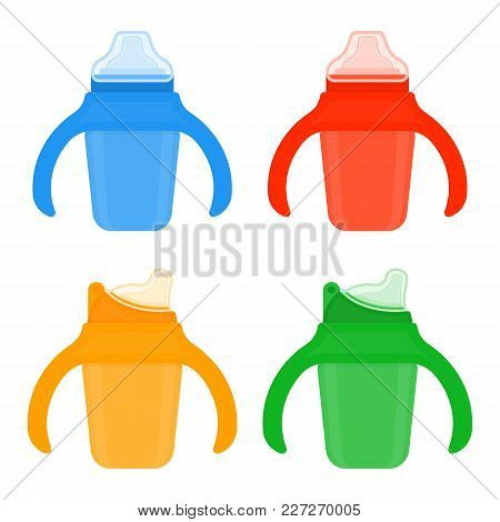 Baby Sippy Cups In Brignt Colors Isolated On White Background. Vector Illustration Of Toddler Feedin