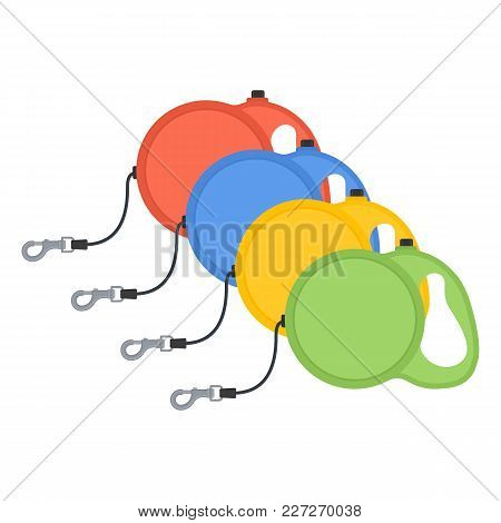 Vector Illustration Of Retractable Dog Cord Leashes Isolated On White Background. Pet Supplies. Dog