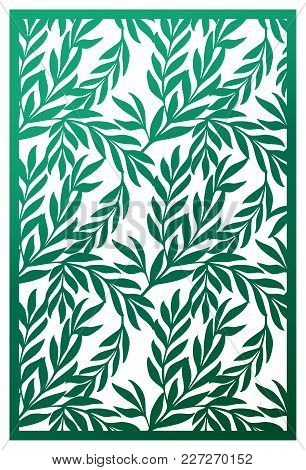Vector Laser Cut Panel. Abstract Pattern With Branches Of Leaves Template For Decorative Panel. Stoc