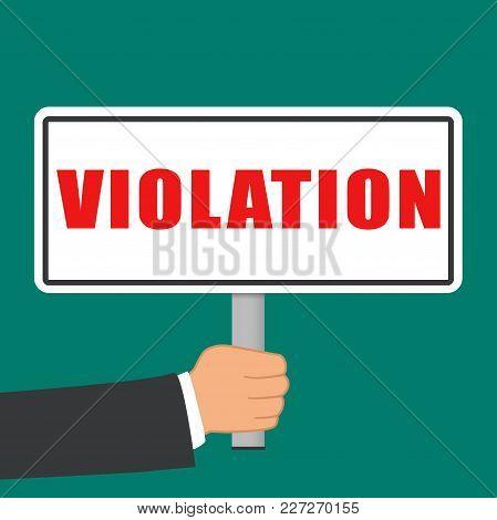 Illustration Of Violation Word Sign Flat Concept