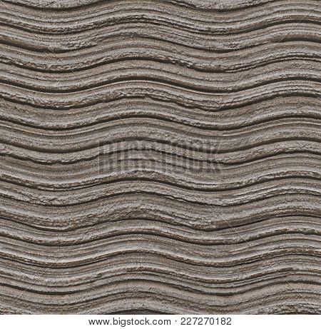 Seamless Grey Wavy Stone Texture Background Pattern. Stone Seamless Texture Surface With Horizontal