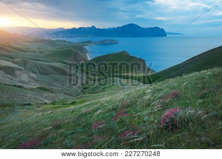 Sea Spring Bay. View From The Mountain. Nature Composition.