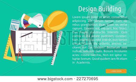 Design Building Conceptual Banner | Set Of Great Banner Design Illustration Concepts For Building, A