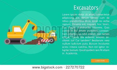 Excavators Conceptual Banner | Set Of Great Banner Design Illustration Concepts For Building, Archit