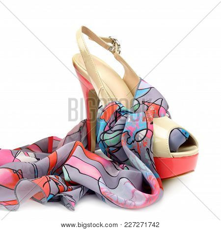 Elegant Sandal And Scarf Isolated On White Background. Free Space For Text.