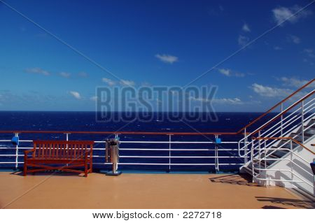 Cruise Ship Deck And Railing In Caribbean