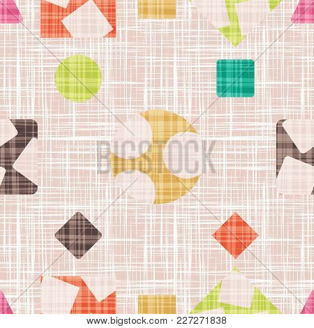 Tracery Is For Tissue With Geometric Shapes. Retro Vector Illustration. Rhombus, Square, Triangle An