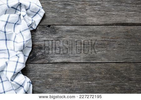 Wooden Backdrop With Kitchen Textile. Food Background, Copy Space For Text. Design Mock Up For Menu,