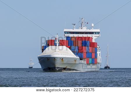 Container Ship - Shiping Traffic Near The Port