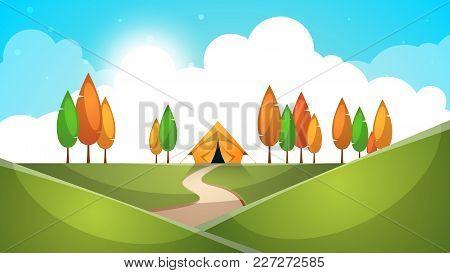 Cartoon Landscape. Tent, Tree, Hill Grass Illustration Vector Eps 10