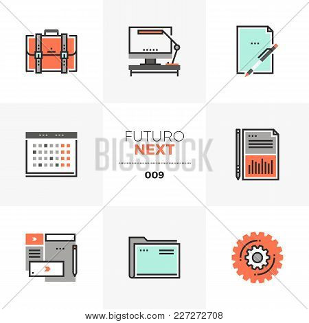 Semi-flat Icons Set Of Business And Office Things, Work Schedule. Unique Color Flat Graphics Element