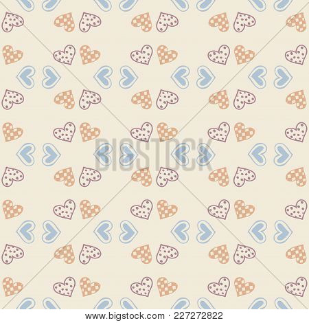 Vector Love Wallpaper. Seamless Pattern Background With Hearts. Amour Decoration. Celebration For Va