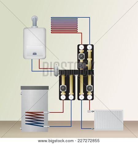 Boiler Room In The Home Vector Illustration.