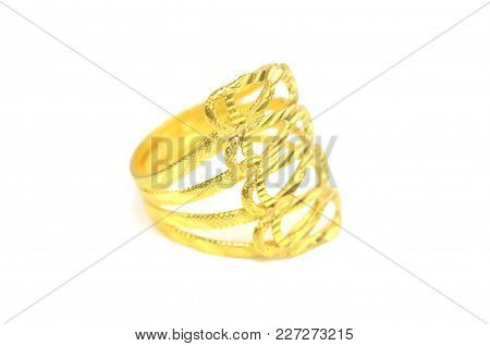 Gold Pendant Cameo Fancy Ring Jewelry Isolated On White