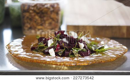 Vegetable Salad In The Kitchen Of The Restaurant, Concept Of Cooking And Haute Cuisine