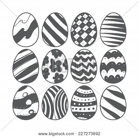 Vector Illustration: Hand Drawn Easter Eggs. Sketch Doodle Design