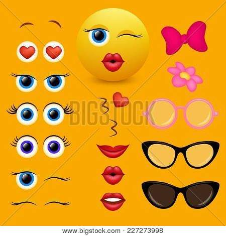 Emoji Maker, Smiley Creator. Vector Design Collection Of Emoticon Body Parts And Accessories Allows