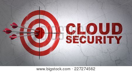 Success Security Concept: Arrows Hitting The Center Of Target, Red Cloud Security On Wall Background
