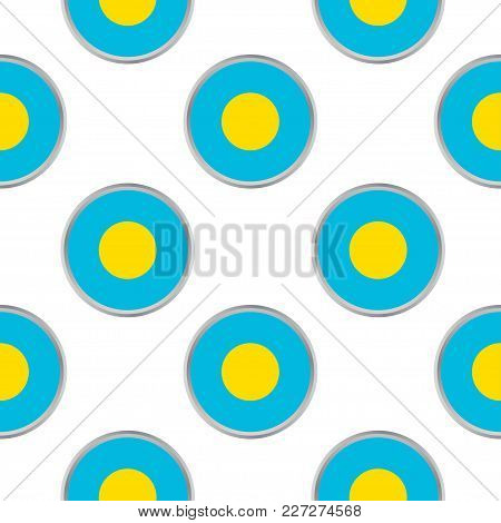 Seamless Pattern From The Circles With Flag Of Palau . Vector Illustration