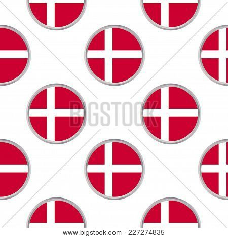 Seamless Pattern From The Circles With Flag Of Denmark . Vector Illustration