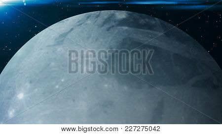 Planet Pluto. 3d Rendering Digital Background. Space Backdrop