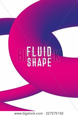 Liquid Fluid Shape Cover Design. Vector Modern Abstract Cover With Plastic Shape. Ultra Violet Purpl