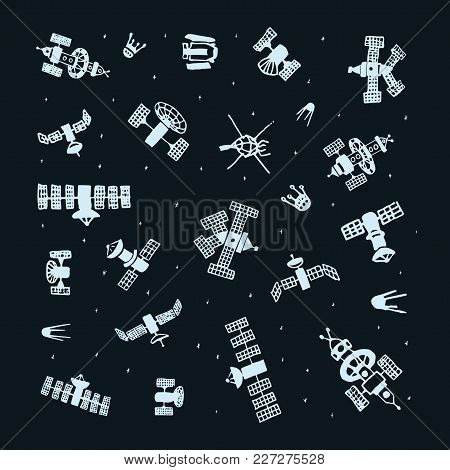 Vector Set Of Hand Painted Doodle Satellite