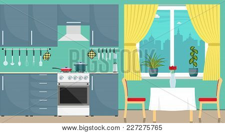 Modern Stylish Kitchen Interior. Kitchen Utensils And Appliances, Furniture, Gas Stove, Refrigerator