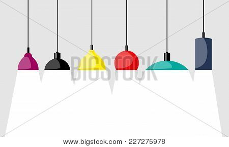 Hanging Lamps, Set. Chandeliers, Lamps, Bulbs - Elements Of Modern Interior. Vector Illustration Iso