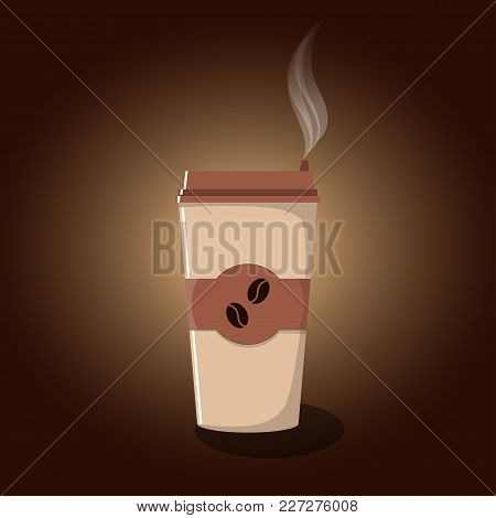 Paper Coffee Cup With Lid And Emblem With Coffee Beans. Hot Take-away Coffee And Steam Above It. Cof