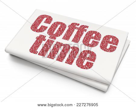 Time Concept: Pixelated Red Text Coffee Time On Blank Newspaper Background, 3d Rendering