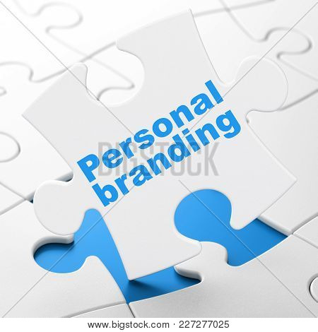Advertising Concept: Personal Branding On White Puzzle Pieces Background, 3d Rendering
