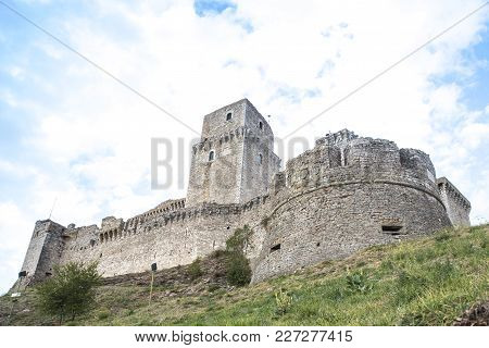 Famous Medieval Fortress In Assisi Italy, The Fortress Stands On A Hill