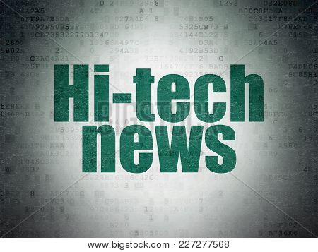 News Concept: Painted Green Word Hi-tech News On Digital Data Paper Background